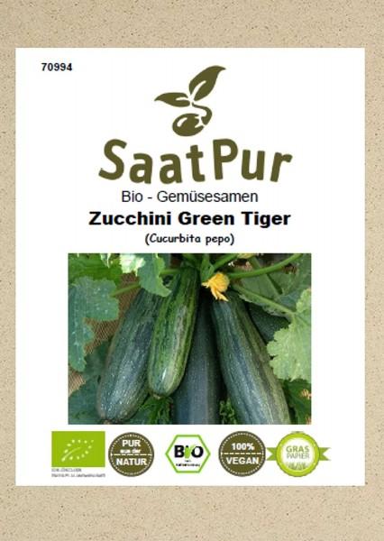 Bio Gemüsesamen Zucchini Green Tiger Freiland und Topf bitterfrei für ca. 12 Pflanzen Samen Saatgut