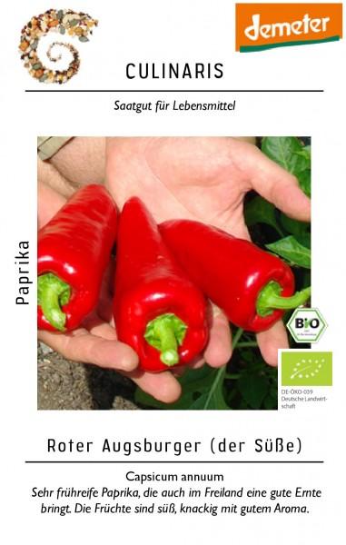 Paprika Roter Ausgsburger 20 Korn Bio-Gemüsesamen - Bio Paprika